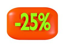 Discount sign -25%. On red certificate Royalty Free Stock Images