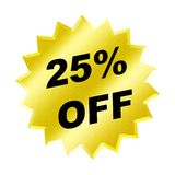 Discount sign. Yellow discount 25% label for discount banner Stock Photos