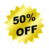 Discount sign. Yellow discount 50% label for discount banner Royalty Free Stock Images