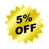 Discount sign. Yellow discount 5% label for discount banner Royalty Free Stock Image