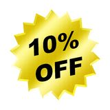 Discount sign. Yellow discount 10% label for discount banner Stock Image