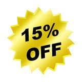 Discount sign. Yellow discount 15% label for discount banner Stock Photos