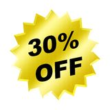 Discount sign. Yellow discount 30% label for discount banner Stock Photo