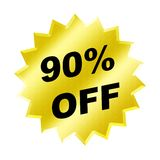 Discount sign. Yellow discount 90% label for discount banner Royalty Free Stock Image