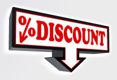 Discount sign with arrow down and per cent symbol Stock Images