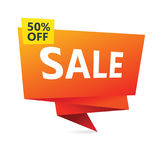 Discount sign with 50 percent offer. Stock Photos