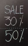50 discount sign written with chalk Royalty Free Stock Images