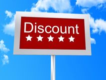 Discount signpost. Illustration of red discount signpost with blue sky and cloudscape background Royalty Free Stock Image