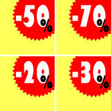 Discount signs Royalty Free Stock Images