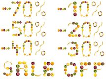 Discount signs made of fruits Stock Photos