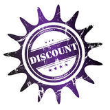 Discount stamp. Abstract colorful rubber office stamp with small stars and the word discount written in the middle Stock Images