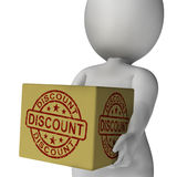 Discount Stamp On Box Shows Promotion And Reductions Royalty Free Stock Photography