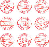 Discount  Stamps Set vector illustration. Grunge Commercial Stamps Set vector illustration Royalty Free Stock Image