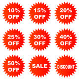 Discount sticker. Set of discount sticker for design elements Stock Images