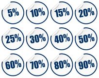 Discount sticker - blue. Stickers remove button stamp sale percent percentage discount decal free summer clearance sell wholesale end cheap low round promo stock illustration