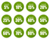Discount sticker - green Stock Photos