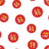 Discount sticker icon seamless pattern background. Business conc. Ept vector illustration. Sale tag promotion 35 percent discount symbol pattern Royalty Free Stock Photo