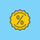 Discount sticker label with percentage filled outline icon, vector sign Royalty Free Stock Images