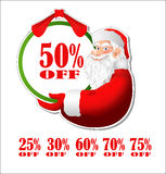 Discount sticker with Santa Claus Stock Image
