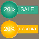 20 discount  sticker. 20% discount  sticker set. Sales tags Stock Photo
