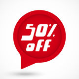 Discount sticker template. Special offer sale red tag. 50 percent Off discount sticker template. Vector Illustration Royalty Free Illustration