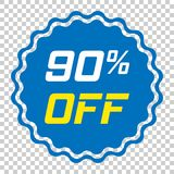 Discount sticker vector icon in flat style. Sale tag sign illust. Ration on isolated transparent background. Promotion 90 percent discount concept Stock Photo