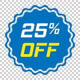 Discount sticker vector icon in flat style. Sale tag sign illust. Ration on isolated transparent background. Promotion 25 percent discount concept Royalty Free Stock Photos