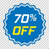 Discount sticker vector icon in flat style. Sale tag sign illust. Ration on isolated transparent background. Promotion 70 percent discount concept Stock Photography