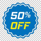 Discount sticker vector icon in flat style. Sale tag sign illust. Ration on isolated transparent background. Promotion 50 percent discount concept Stock Images