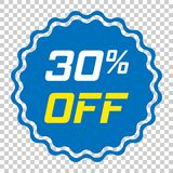 Discount sticker vector icon in flat style. Sale tag sign illust. Ration on isolated transparent background. Promotion 30 percent discount concept Stock Photo