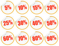 Discount sticker - yellow + red Royalty Free Stock Photography