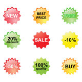 Discount stickers. Nine Discount  stickers on a white background Royalty Free Stock Photo