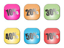 Discount stickers. Different colors vector illustration Stock Image