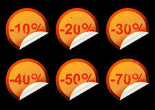 Discount stickers Royalty Free Stock Photos