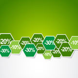 Discount stickers. In green background Stock Images