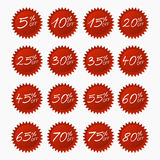 Discount stickers. Red  set. 5-80 percent off discount label tag on white background vector illustration