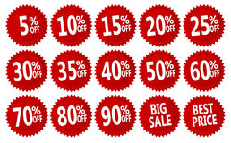 Discount stickers. Red discount stickers set. vector collection, you can simply change color and size Stock Photo
