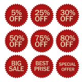 Discount stickers set. Vector. Discount stickers set. Red Sale Label. Special Advertising tags, Round shapes price symbol. Vector Stock Photo