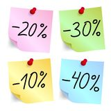 Discount on sticky note paper Stock Photos