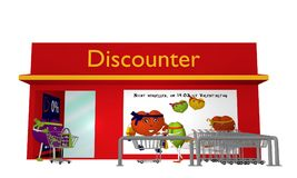 Discount store with Valentine`s hearts going shopping. Front view isolated on white. Text in German: Do not forget, on 14.02. is Valentine`s Day. 3d rendering Vector Illustration