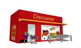 Discount store with Valentine`s hearts going shopping. Side view. Isolated on white. Text in German: Do not forget, on 14.02. is Valentine`s Day. 3d rendering Royalty Free Illustration