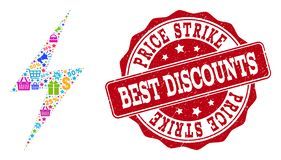 Discount Strike Collage of Mosaic and Scratched Seal for Sales royalty free illustration