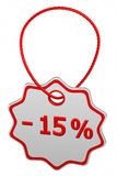 Discount - 15 % tag. 3D rendering. Discount - 15 % tag, isolated on white background. 3D rendering stock illustration