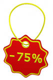 Discount - 75 % tag. 3D rendering. Discount - 75 % tag, isolated on white background. 3D rendering Stock Images