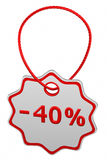 Discount - 40 % tag. 3D rendering. Stock Images