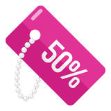 Discount Tag Flat Icon Isolated on White Royalty Free Stock Photography