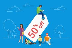 Discount tag 50 percent off concept illustration Stock Photography