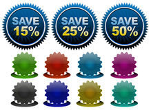 Discount tags. Stylish badges and price tags Royalty Free Stock Photography