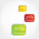 Discount tags. 3d-Vector Glossy sale tags in colors Stock Images