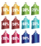 Discount tags. Illustration of discount tags on white background Royalty Free Stock Photo